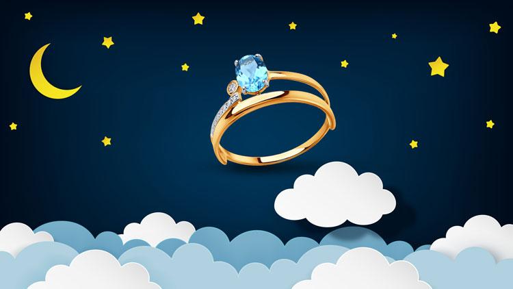 Женское золотое кольцо с топазом