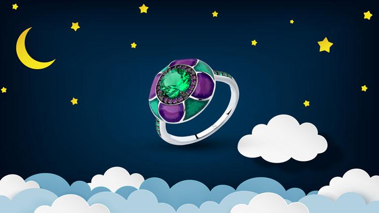 Серебряное кольцо с зелёными камнями