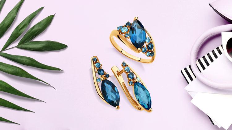 Золотые украшения с топазами
