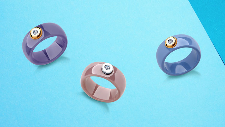 Керамические кольца с бриллиантами