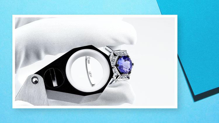 Проба, кольцо с танзанитом