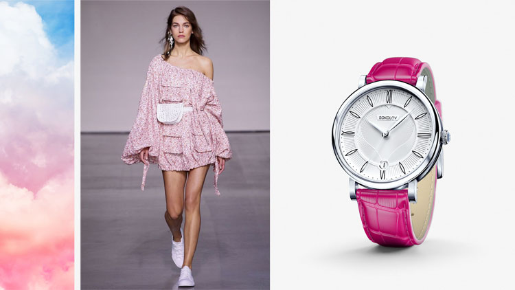 Серебряные часы с розовым ремешком